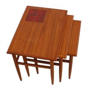 Set of 3 Danish Modern Teak Nesting Tables w / Inset Tile