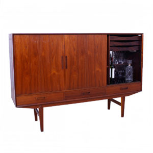 Danish Modern Teak & Rosewood Highboard / Bar Cabinet