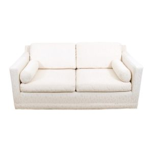 Classic MCM Loveseat with White Upholstery