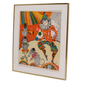 Colorful Print with Clown and Cats