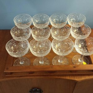 Set of 12 Early 20th c American Crystal Champagne Glasses
