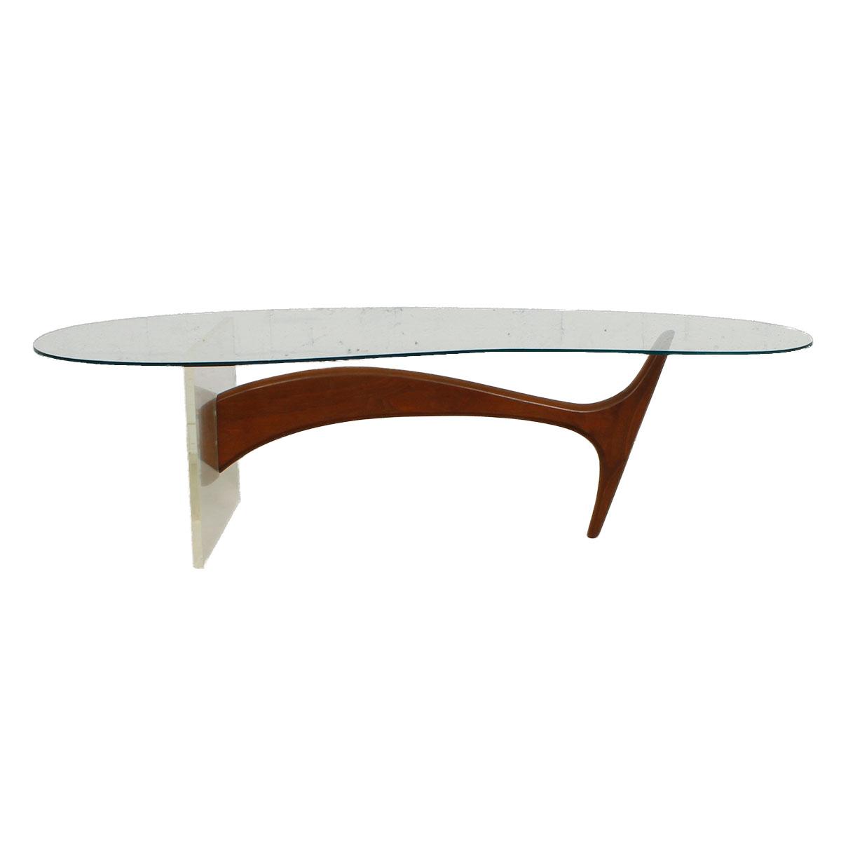 Kagan Coffee Table.Kagan Lucite Walnut Base W Glass Top Coffee Table