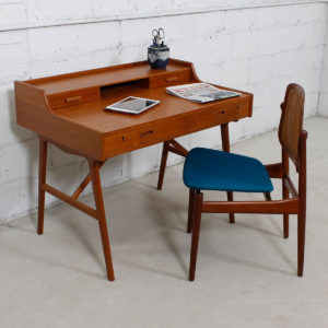 Arne Wahl Iversen Petite Danish Teak Writing Desk w/ Sculptural Legs