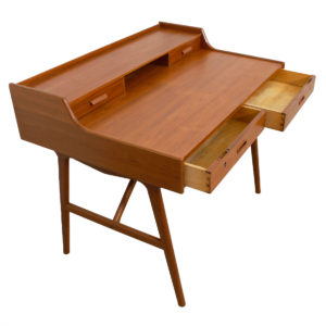 Arne Wahl Iversen Petite Danish Teak Writing Desk w/ Sculptural Legs