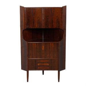 Exquisite Danish Rosewood Corner Locking Mirrored Bar / Cabinet