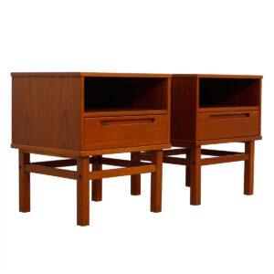 Pair of Danish Modern Teak Nightstands / Side Tables by Torring