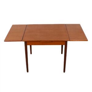 Small Danish Modern Square Teak Expanding Dining / Game Table
