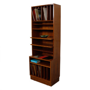Slim & Tall Danish Walnut 27.75″ Vinyl Storage / Display Case