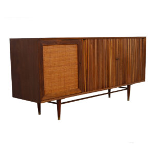 Light-Up Bar Cabinet / Tambour Door Credenza — Amercian Modern