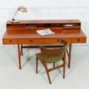 1969 Lovig 'Flip-Top' Danish Modern Teak Expanding Partner's Desk