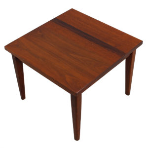 Decorator Mid Century Compact Square Teak / Rosewood / Walnut Accent Table