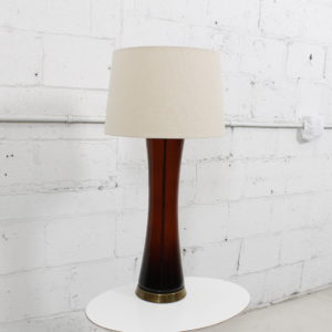 Tall MCM Brown Glass Lamp