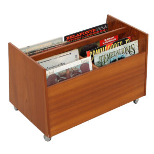 Danish Modern Teak Rolling Vinyl / Magazine Storage Cart