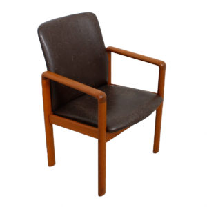 Distressed Leather Danish Modern Teak Arm Chair