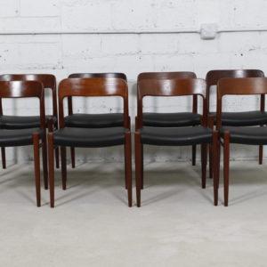 Set of 8 Niels O. Møller #75 Teak Dining Chairs w/ New Upholstery