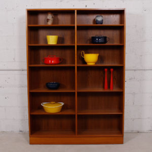Danish Modern Hundevad Teak Tall Adjustable Shelf Bookcase