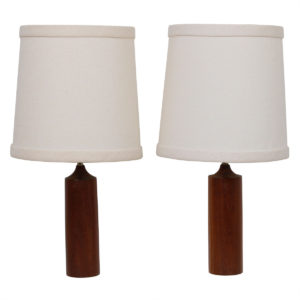 Pair of Solid Teak Turned Lamps