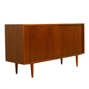 Condo Sized 54″ Danish Modern Teak Sideboard / Media Cabinet