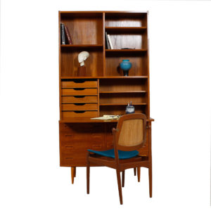 Compact 2-Piece Danish Teak (42.5″) Secretary / Display / Locking Cabinet