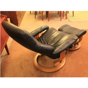 Black Ekornes Stressless Recliner and Matching Ottoman