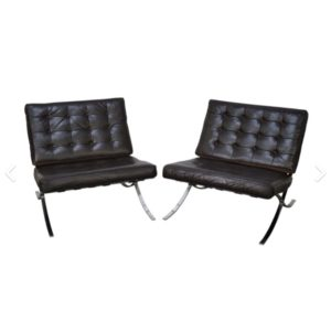 Pair of Original Barcelona Chairs w/ Black Leather, Labeled Knoll 1971