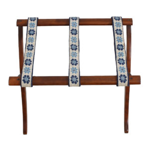 Folding Luggage or Blanket Stand with Needlepoint Straps
