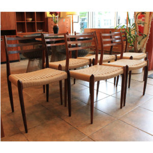 Set of 6 Danish Rosewood Niels Moller #78 Dining Chairs