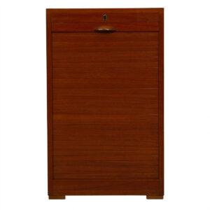 Early Petite Danish Teak Locking Tambour Door Filing Cabinet w/ Handle