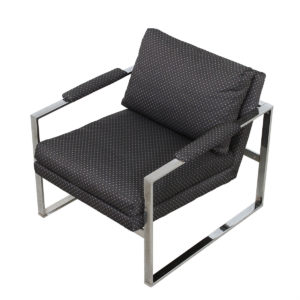 Pair of Chrome & Upholstery Chairs by Milo Baughman