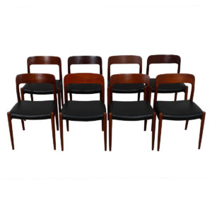 Set of 8 Niels O. Møller #75 Teak Dining Chairs w/ New Upholstery