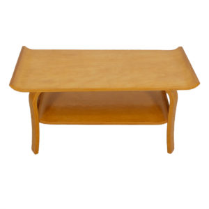 Compact Birch Bentwood Coffee Table w/ Shelf