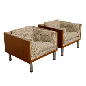 Jydsk of Denmark, Milo Baughman Style Teak Case Pair of Chairs
