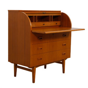 Danish Modern Roll Top Locking Secretary Desk / Dresser in Teak