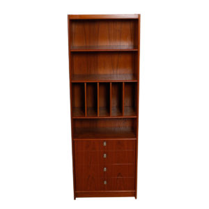 Deep & Tall Danish Teak Adjustable Bookcase / Vinyl Storage