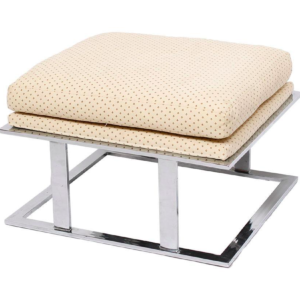 Chrome Ottoman by Milo Baughman with Upholstered Seat