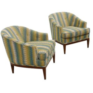 Pair of Upholstered Mid-century Modern Designer Club Chairs