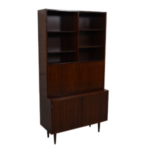 Compact 2-Piece Danish Rosewood (42.5″) Secretary / Display / Locking Cabinet