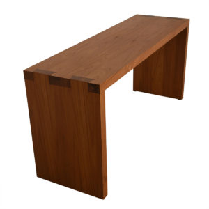 Modern Teak Console Table w/ Dovetail Accents