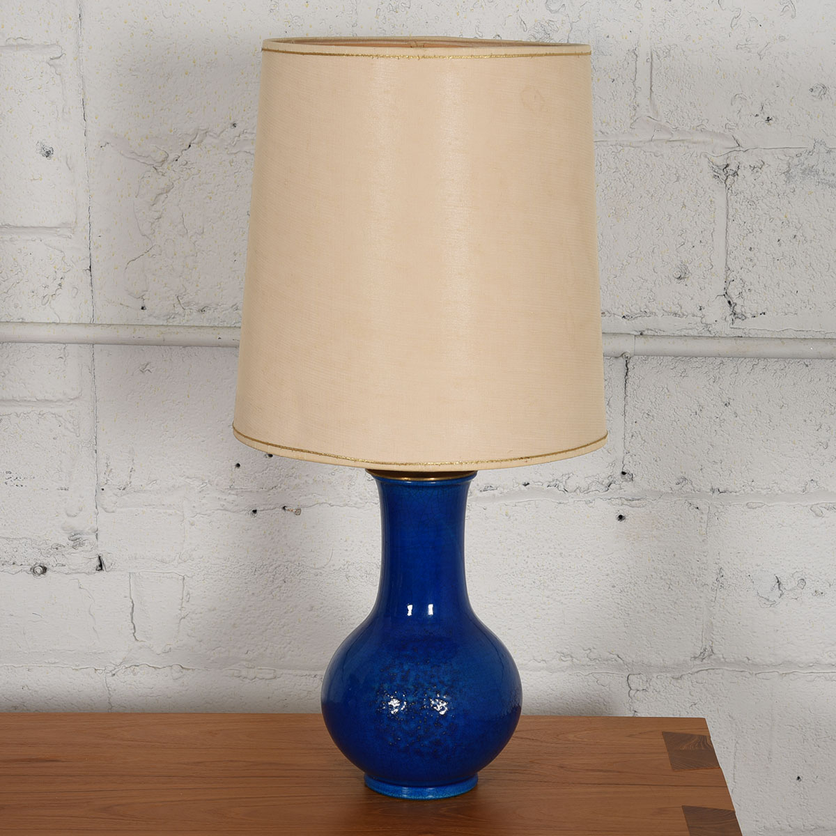Modern mobler c1970s pottery table lamp with blue glaze by pol chambost france mozeypictures Choice Image