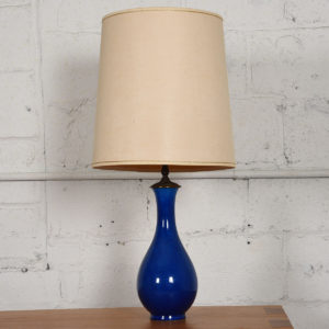 c.1970s Ceramic Artisan Table Lamp, France, Blue Crackle Glaze