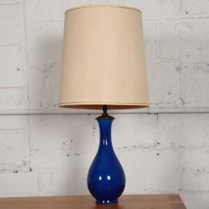c.1970s Ceramic Artisan Table Lamp, France, Blue Crackle Glaze