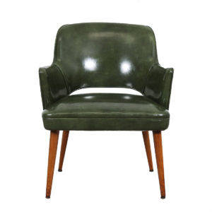 Pair of Knoll / Saarinen Style Executive Chairs in Green Leather