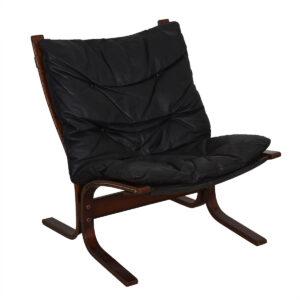 Westnofa Ingmar Relling Black Leather & Rosewood Siesta Chair