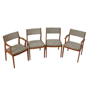 Set of 4 (2 Arm + 2 Side) Danish Modern Teak Dining Chairs