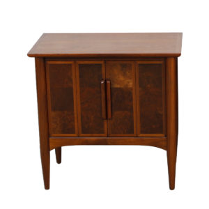 Pair Heritage Walnut Nightstands / Side Tables with Burled Accents