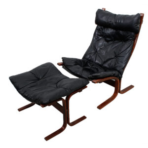Westnofa Ingmar Relling Black Leather Tall Siesta Chair & Ottoman