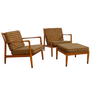 Magnificent Early Pair of Swedish Modern Lounge Chairs w/ Ottoman