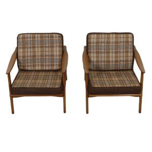 Pair of Swedish Modern Lounge Chairs w/ Reversible Cushions!