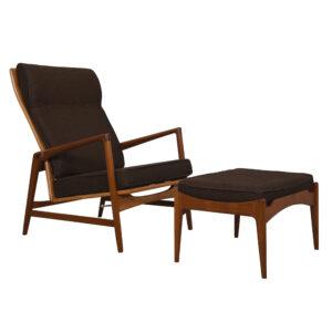 Kofod Larsen Danish Teak Adjustable Lounge Chair w/ Ottoman