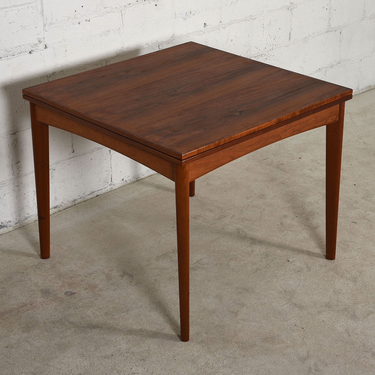 Square To Rectangle Danish Teak Fold Out Dining / Game Table